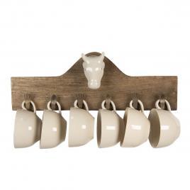 Set 6 cesti din ceramica crem cu suport de perete din lemn maro 48 cm x 9 cm x 17 h