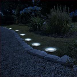 Delight - Lampă solară LED, model circular cu înfigere în sol, alb rece 11 cm
