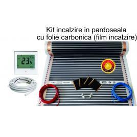 Set incalzire in pardoseala cu folie carbonica incalzitoare + termostat comanda, pentru 10mp