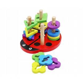 Coloane Sortatoare de Forme din Lemn, Stil Montessori, Model Buburuza, Stimuleaza Motricitatea Fina si Multicolor