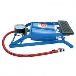 Pompa aer auto carpoint de picior dubla cu 2 cilindri si manometru , 7 bar 100psi, model albastru kft auto