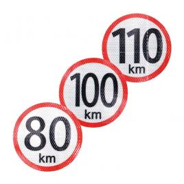 Autocolant reflectorizant limita viteza 65 km, diametru 150mm kft auto