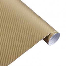 Folie carbon 3d auriu, 1x1.5m, tehnologie de eliminare a bulelor de aer