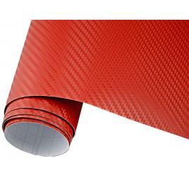 Folie carbon 3d rosu, 1x1.5 m cu tehnologie de eliminare a bulelor de aer