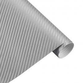 Folie carbon 4d argintiu, 1x1,5m cu tehnologie de eliminare a bulelor de aer