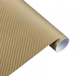 Rola folie carbon 3d auriu, 10x1.5m, tehnologie de eliminare a bulelor de aer