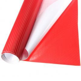 Rola folie carbon 3d rosu, 10x1.5m, tehnologie de eliminare a bulelor de aer