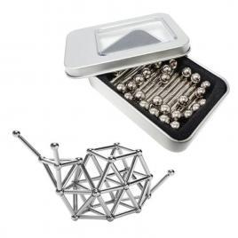 Set puzzle antistres xl cu bile si bete magnetice, 126 piese, argintiu