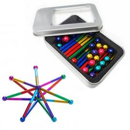 Set puzzle antistres xl cu bile si bete magnetice, 126 piese, multicolor