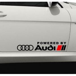 Set stickere auto caroserie powered by audi, negru, 2buc