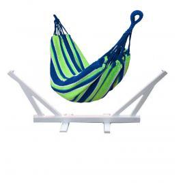 Set suport premium alb + hamac single pentru curte sau gradina, dimensiuni 200x100cm, cu sac de depozitare, capacitate 130kg, albastru/verde mania premium