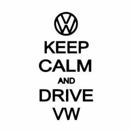 Sticker auto keep calm drive vw, negru