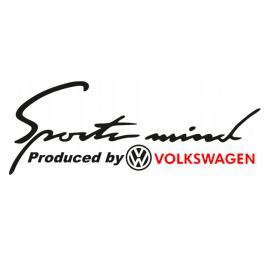 Sticker auto sport mind volkswagen, negru/rosu