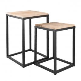 Set 2 masute cafea blat lemn natur picioare fier negru 36 cm x 36 cm x 52 h; 31 cm x 31 cm x 42 h