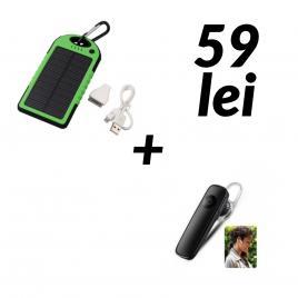 Baterie externa 5000mah + casca bluetooth cadou