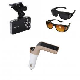 Camera auto hd 1080 + modulator car kit bluetooth g7 + set 2 perechi ochelari de condus zi si noapte