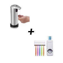 Dispenser sapun cu senzor + dozator pasta de dinti + suport 5 periute