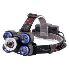 Lanterna de cap cu  5 led-uri , zoom, reglabila cu acumulator