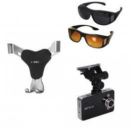 Pachet auto: camera video auto + set 2 perechi ochelari de condus + suport telefon