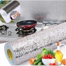 Set 3 x folie bucatarie de aluminiu autoadeziva pentru bucatarie 30 x 100 cm (silver)
