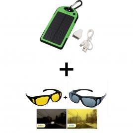 Set baterie externa solara 5000mah + set 2 perechi ochelari de condus cadou