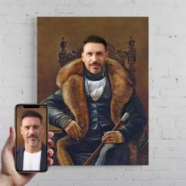 Portret personalizat, pictura Duce, printat panza canvas 50x40cm