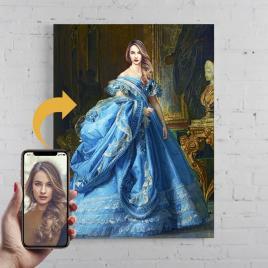 Portret personalizat, pictura Regina, printat panza canvas 50x40cm