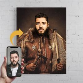 Portret personalizat, pictura Viking, printat panza canvas 50x40cm