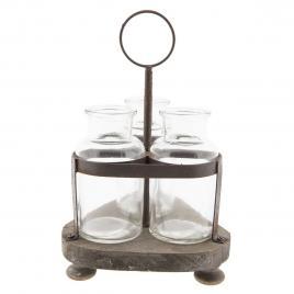 Set 3 sticle cu suport din metal maro 17 cm x 17 cm x 28 h