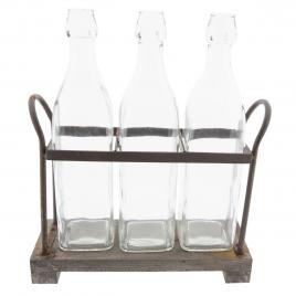 Set 3 sticle cu suport din metal maro 30 cm x 10 cm x 35 h