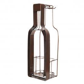 Suport sticla vin si pahare din fier maro 20 cm x 17 cm x 63 h