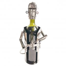 Suport sticla vin din metal argintiu pompier 17 cm x 12 cm x 22 h