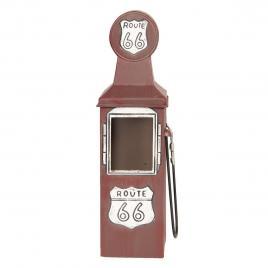 Suport sticla vin din metal rosu 10 cm x 10 cm x 34 h