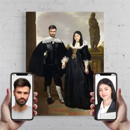 Portret personalizat, pictura Duce si Ducesa, printat panza canvas 50x40cm
