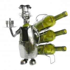 Suport 3 sticle vin din metal argintiu 32 cm x 21 cm x 33 h