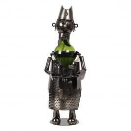 Suport sticla vin din metal gri 10 cm x 10 cm x 30 h