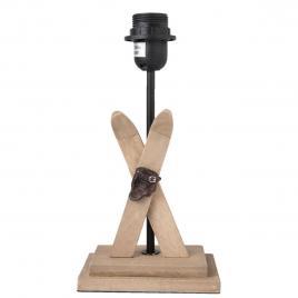 Baza veioza din lemn natur si fier negru 15 cm x 10 cm x 29 h
