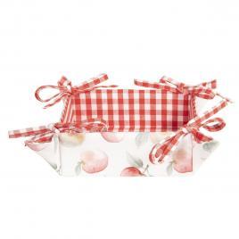 Cos paine bumbac alb rosu decor mere 35 cm x 35 cm x 8 h