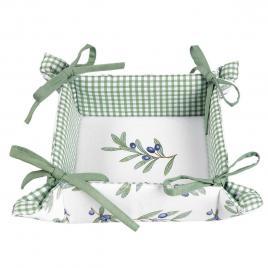 Cos paine bumbac alb verde decor masline 35 cm x 35 cm x 8 cm