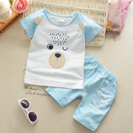 Costum bebelusi cu pantalonasi si tricou - blue bear (marime disponibila: 6-9...