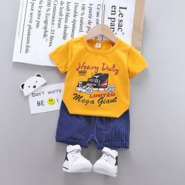 Costum cu tricou galben pentru bebelusi - heavy duty (marime disponibila: 18-24...