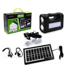 Panou solar fotovoltaic, incarcare telefon, 3 becuri si 3 lanterne