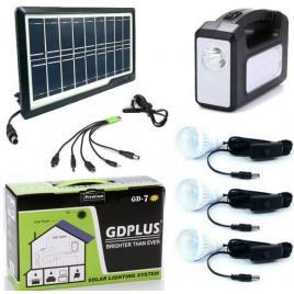Panou solar fotovoltaic iluminare 3 becuri lanterna incarcare telefon 2 lampi