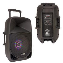 Boxa portabila iluminata led, 15 inch/38cm, 50w rms cu usb/sd/bt/fm