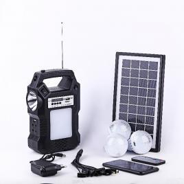 Kit panou solar cu 3 becuri LED radio incarcare telefon telecomanda afisaj