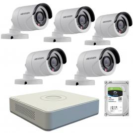Kit  de supraveghere cu 5 camere exterior hikvision turbohd ds-2ce16c0t-irpf, 1 mp, ir 20 m, 2.8 mm + dvr turbo hd hikvision 3.0 ds-7108hghi-f1, 8 canale, 1080 n + hard disk seagate skyhawk st1000