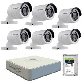 Kit  de supraveghere cu 6 camere exterior hikvision turbohd ds-2ce16c0t-irpf, 1 mp, ir 20 m, 2.8 mm + dvr turbo hd hikvision 3.0 ds-7108hghi-f1, 8 canale, 1080 n + hard disk seagate skyhawk st1000