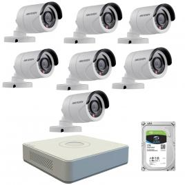 Kit  de supraveghere cu 7 camere exterior hikvision turbohd ds-2ce16c0t-irpf, 1 mp, ir 20 m, 2.8 mm + dvr turbo hd hikvision 3.0 ds-7108hghi-f1, 8 canale, 1080 n + hard disk seagate skyhawk st1000