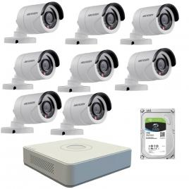 Kit  de supraveghere cu 8  camere exterior hikvision turbohd ds-2ce16c0t-irpf, 1 mp, ir 20 m, 2.8 mm + dvr turbo hd hikvision 3.0 ds-7108hghi-f1, 8 canale, 1080 n + hard disk seagate skyhawk st1000