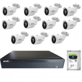 Kit de supraveghere cu 11 camere acvil ahd-ef30-4k, 8 mp, ir 20 m, 2.8 mm +dvr pentabrid acvil xvr5116fhd, 16 canale, 5 mp + hard disk seagate skyhawk st1000vx001, 1tb